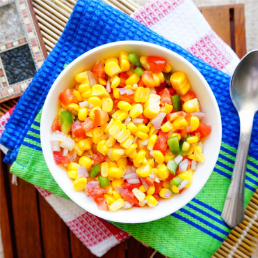 Mexican Corn Salad with Aloe vera dressing